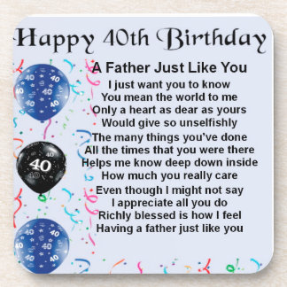 Father Poem - 40th Birthday Beverage Coasters