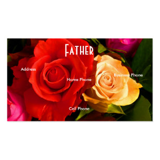 Father Red Yellow Roses Profile Card Business Cards