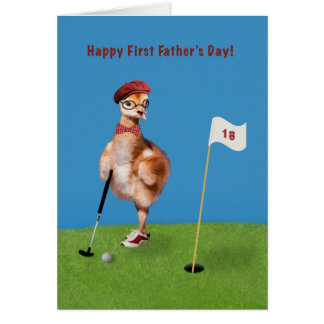 Father s Day First Humorous Bird Playing Golf Cards