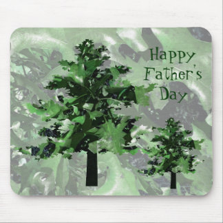 Father s Day Green Tree Silhouette Mouse Pads