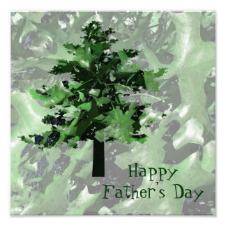 Father s Day Green Tree Silhouette Photo Print