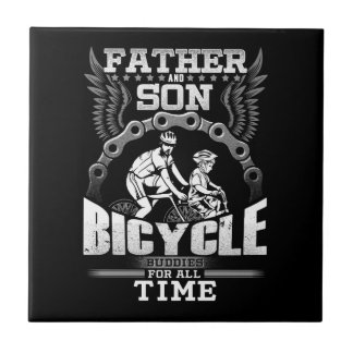 Father Son Bicycle Ceramic Tile