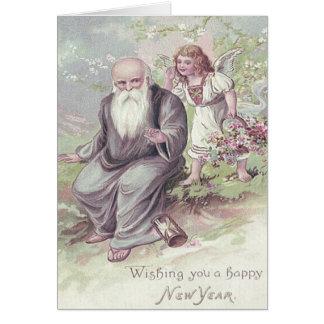 Father Time Cherub Angel Basket Hourglass Card
