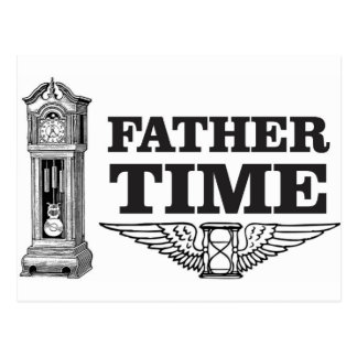 father time clock postcard