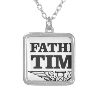 father time clock silver plated necklace