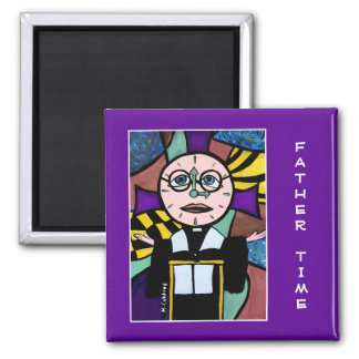 Father Time On Purple - Time Pieces Magnet