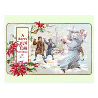 Father Time Pelted with Snowballs Postcard