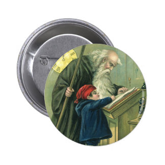 Father Time Wishing You a Happy New Year 6 Cm Round Badge