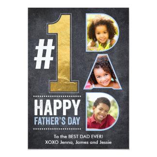 Father's Day #1 Dad Gold 13 Cm X 18 Cm Invitation Card