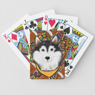 Fathers Day Alaskan Malamute Bicycle Playing Cards
