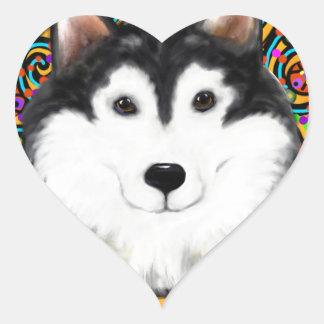 Fathers Day Alaskan Malamute Heart Sticker