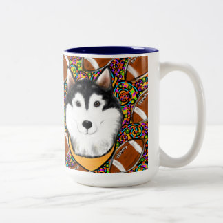 Fathers Day Alaskan Malamute Two-Tone Coffee Mug