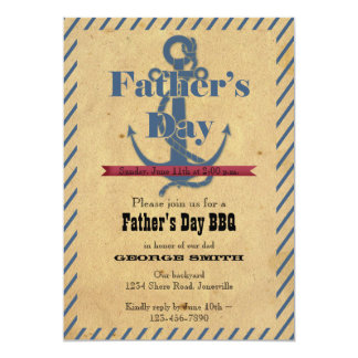 "Father's Day Anchor BBQ Party Invitation 5"" X 7"" Invitation Card"