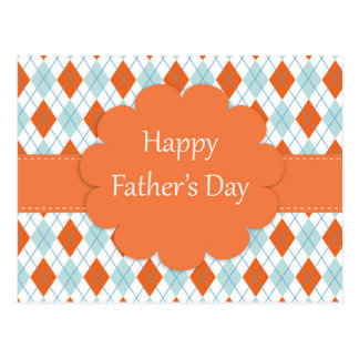 Father's Day Argyle Pattern Postcard