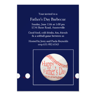 """Father's Day Baseball Invitation 5"""" X 7"""" Invitation Card"""