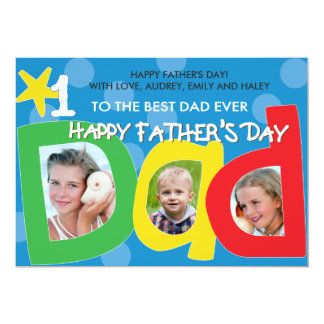 Father's Day Best Dad Ever Dots 13 Cm X 18 Cm Invitation Card