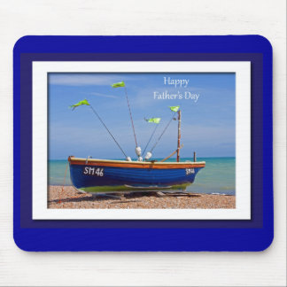 Father's Day Blue Boat Mousepads