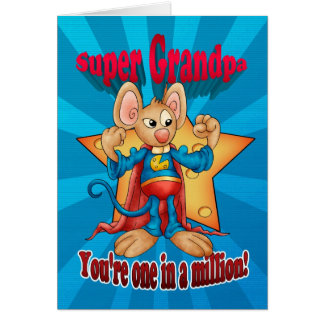 Father's Day Card - Super Grandpa Mouse - One In A