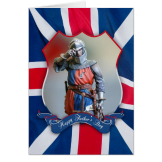 father's day card with knight and union jack
