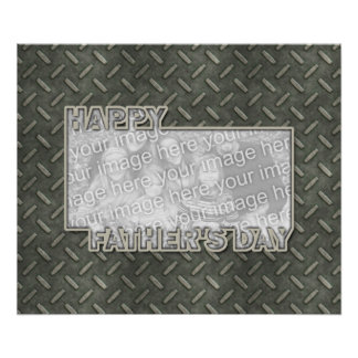 Fathers Day Cut Out ADD YOUR PHOTO Metal Grid Print