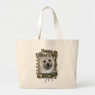 Fathers Day DAD - Stone Paws - Cairn - Teddy Bear Large Tote Bag
