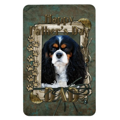 Fathers Day DAD- Stone Paws - Cavalier - Tri Color Magnet