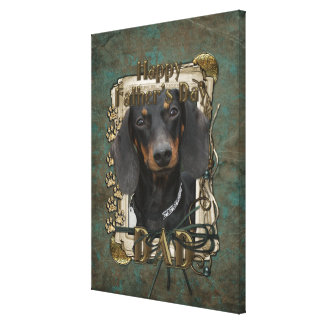 Fathers Day DAD - Stone Paws - Dachshund - Winston Stretched Canvas Prints
