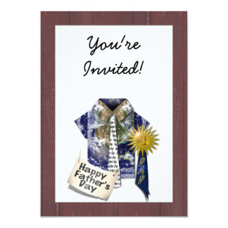 Father's Day - Dads Earth Shirt on Barn Background Personalized Invite