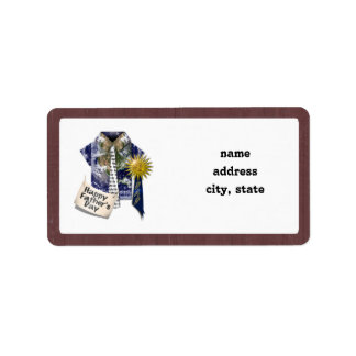 Father's Day - Dads Earth Shirt on Barn Background Address Label