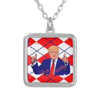 fathers day donald trump silver plated necklace