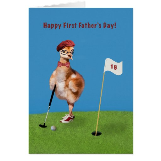 Father's Day, First, Humorous Bird Playing Golf Cards