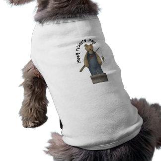 Fathers Day Fishing Bear Sleeveless Dog Shirt