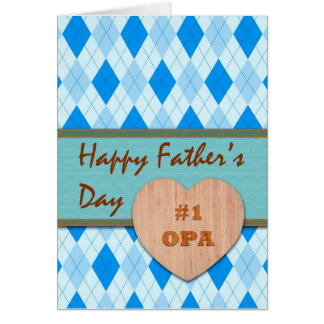 Father's Day for Opa, Wood Heart, Argyle Greeting Card