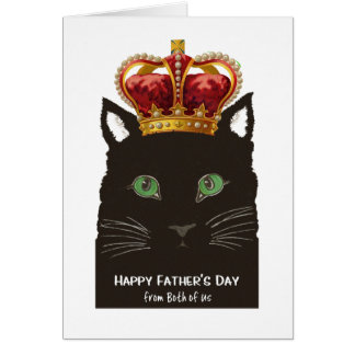 Father's Day from Both of Us Black Cat with Crown Card