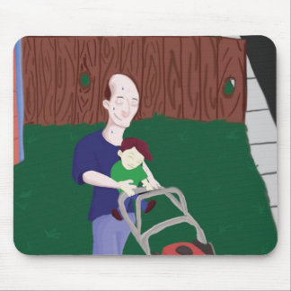 Father's Day Grass Mowing Mouse Pad