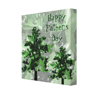 Father's Day: Green Tree Silhouette Stretched Canvas Prints