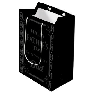 """Father's Day - """"Happy Father's Day"""" Black/Grey Medium Gift Bag"""