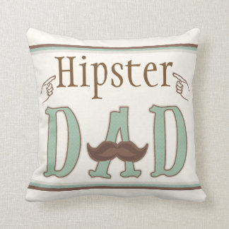 Fathers Day Hipster Dad Mustache Throw Pillow