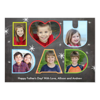 Fathers Day I (Heart) You Dad 5x7 Paper Invitation Card