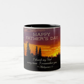 Father's Day Inspiring Scripture, Philippians 1:3 Two-Tone Coffee Mug