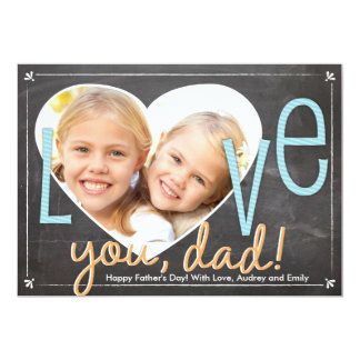 Father's Day Love You Dad Heart 13 Cm X 18 Cm Invitation Card