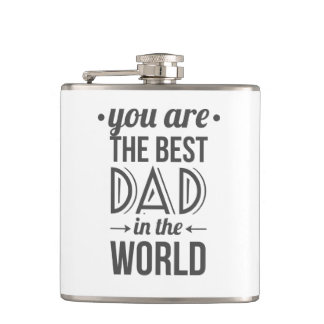 Father's day message best dad in the world flasks