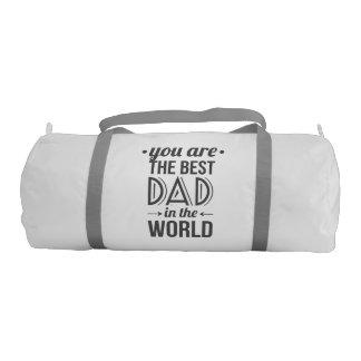 Father's day message best dad in the world gym duffel bag
