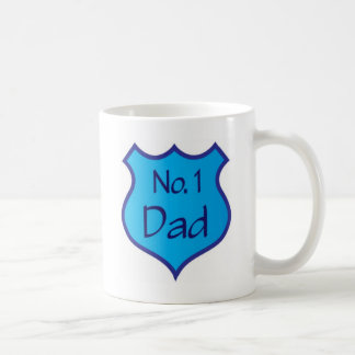 Fathers Day Number One Dad Shield Coffee Mug
