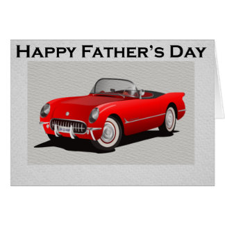 Father's Day Red Convertible Sports Car Card
