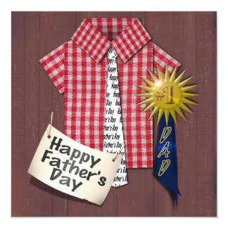 "Father's Day Red Shirt with Barn Background 5.25"" Square Invitation Card"