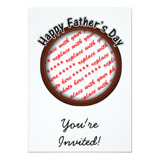 Father's Day Round Brown Photo Frame 13 Cm X 18 Cm Invitation Card