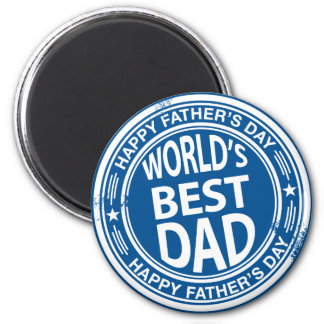 Father's day rubber stamp effect -white- 6 cm round magnet