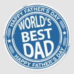 Father's day rubber stamp effect -white- round sticker