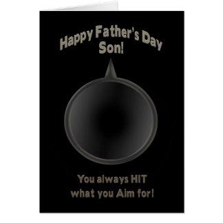FATHER'S DAY - SON - GUN - AIM GREETING CARD